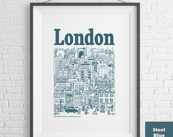 London Hand-Illustrated Screenprint (3 colours available)