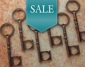 50% OFF SALE! Giorgio Heart Themed Antique Copper Skeleton Key - Set of 10