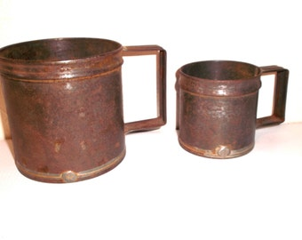 Primitive French Measuring Cups Vintage Rustic Farmhouse Tin Mugs
