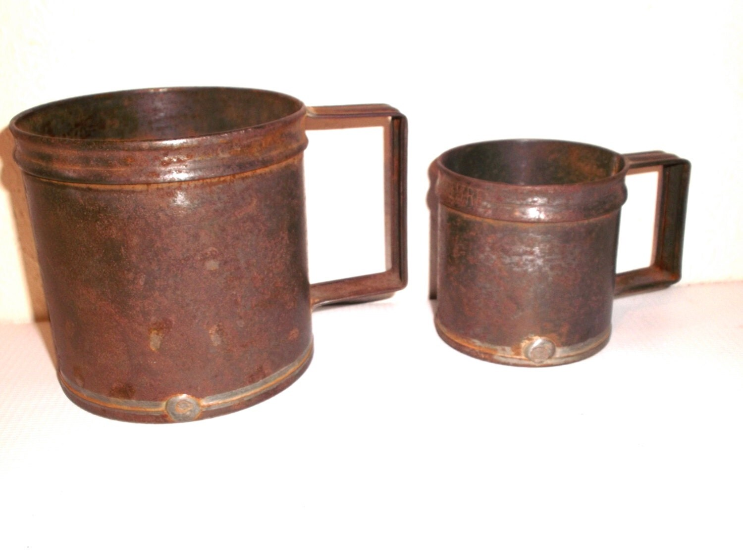 Primitive French Measuring Cups Vintage Rustic Farmhouse Tin