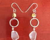 Clear seaglass and bamboo earrings