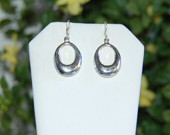Sterling Silver Earrings, Sleek Oval Dangles, Puffy Silver Drops, Sterling French Wires, Silver Dangles, Oval Sterling Silver