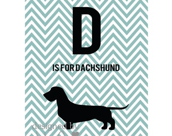 D is for Dachshund Printable art