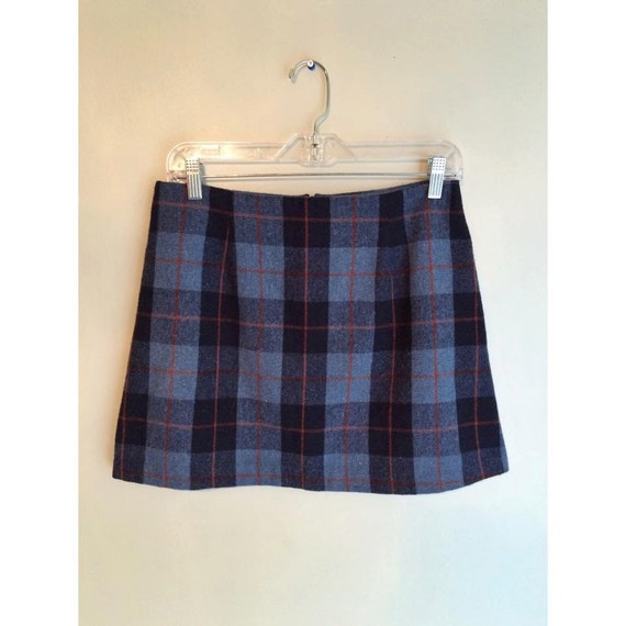 90s blue plaid mini skirt by tupelovintage on etsy