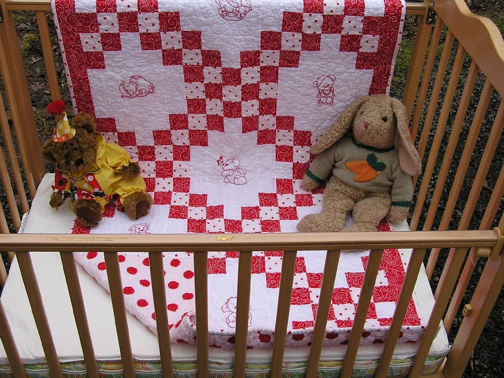 Handmade Double Irish Chain Baby Quilt Toddler Bedding Red