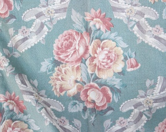Large Antique 1920s 30s Romantic Scrolled Pink and Yellow English Cabbage Roses Floral Vintage Dark Teal Green Fabric Panel