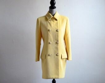 Gianni Versace Couture Angora Blend Yellow Coat