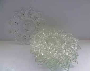 Antique Glass Plates 8 Antique Clear Glass Plates Stunning Glass Plates
