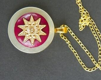 Button Necklace Vintage Pendant antique pendant handmade necklace gold necklace red Valentine's Day Necklace pendant gold pendant