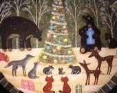 Christmas Folk Art Hand Painted Bowl - MADE TO ORDER - Animals' Christmas Tree, Black Bear, Fox, Wolf, Raccoon, Deer, Winter Holiday Snow