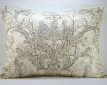 Silver Metallic Toile de Jouy Pillow Cover 18x18