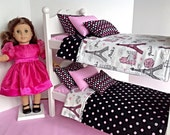 White bunk with Paris bedding for 18 in American Girl Doll. Perfect for Grace