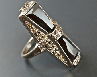 ART DECO MARCASITE ring. Sterling Silver Size 6.5 . Uncas . Alaska Diamond. Hematite. edwardian. Antique. Vintage No.001601 hs
