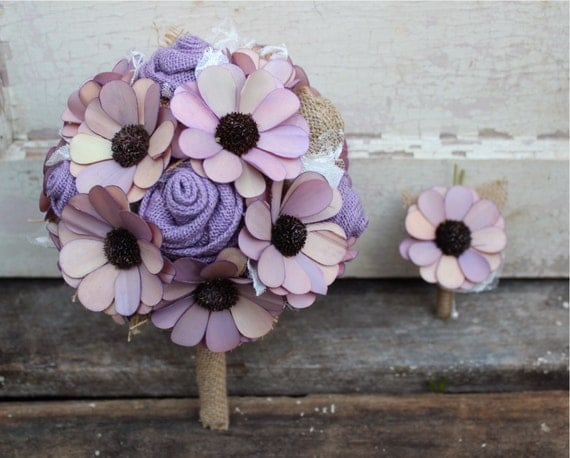 rustic wedding bouquet in lavender