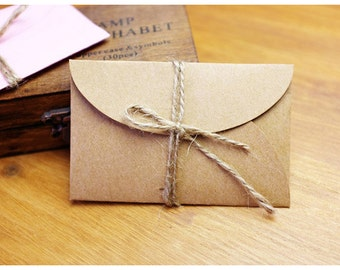 Mini Kraft Envelopes Kraft Envelope Business Card Holder Gift Card Holder - Set of 25