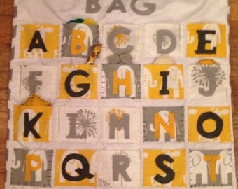 Alphabet Bag / quilt / wall hanging / interactive learning toy