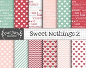 Valentine Digital Paper, Heart Digital Paper, Typography Scrapbooking Paper, Scrapbooking, Instant Download, Commercial Use