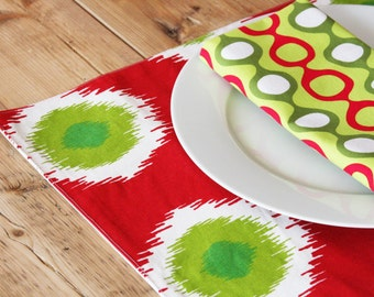 Holiday Placemats - Red, White and Green Ikat Design - Set of 4