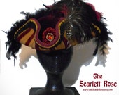 Gorgeous Burgundy and Gold Striped Tricorn, THE Elegant finish to YOUR Pirate Outfit