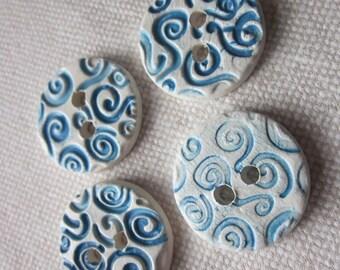 4 Medium Bright Blue Spiral Texture Buttons