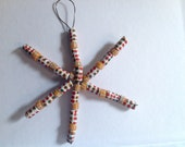 Beaded Snowflake Christmas Ornament, Africa Ghana, Handmade Krobo Beads, Recycled Glass, for a Good Cause