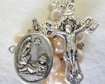 Handmade Catholic Tenner Single Decade Rosary, Infant Jesus Protect Us, Guardian Angel, Glass Pearls