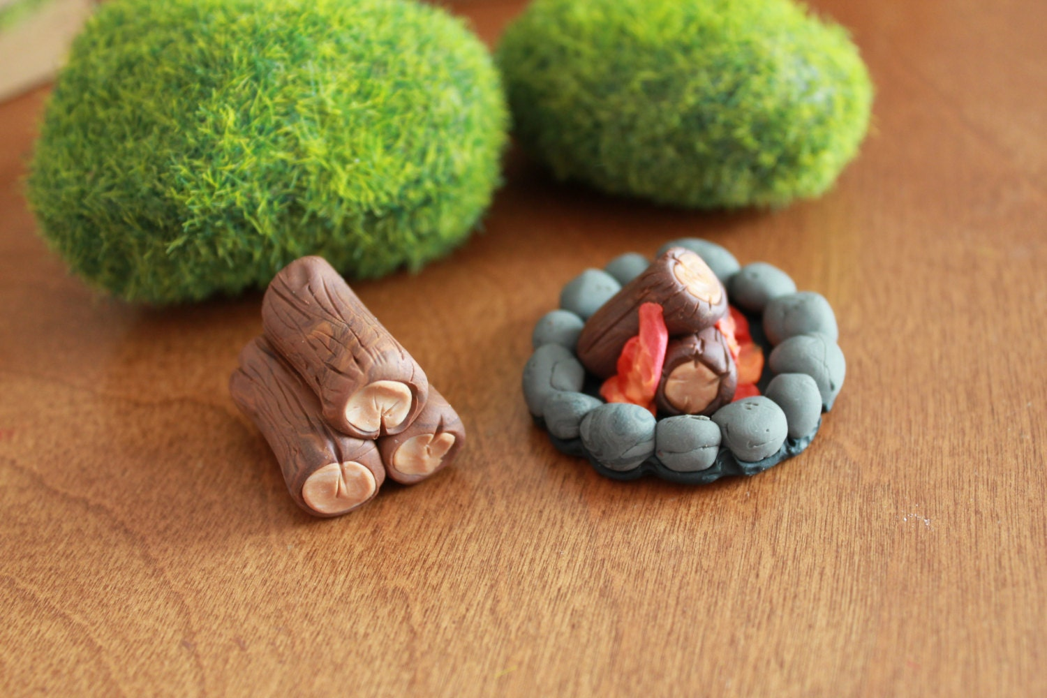 Fire Made Of Clay : Camp fire ring and firewood stack polymer clay by gnomewoods