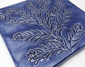 Handmade Tree & Floral Tile in Blue