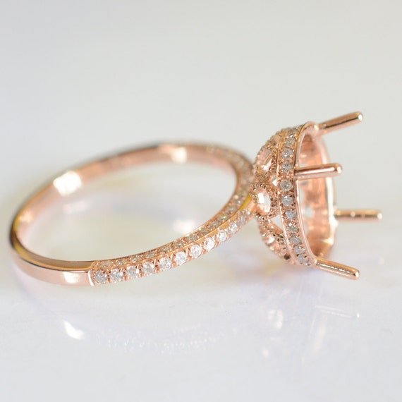 Semi mount gold ring here in rose gold engagement by AllSapphires