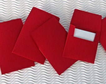 36+ teeny tiny envelope note card sets handmade Cardinal Red mini miniature square party favor wedding stationery guest book