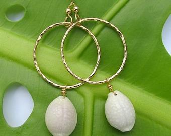 Gold Hammered Hoop Earrings, Hawaiian Granulated White Cowrie Shells, Hawaii Beach Jewelry, Handmade Textured Hoops, Gift for Her