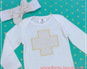 Personalized Baby Bodysuit , Top Knot Headband , Gift Set for Baby Girl , Gold and White Metallic Dot , Baby Shower  Photo Prop Modern Baby