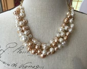 Statement Pearl necklace in Ivory and champagne pearls with gold chain