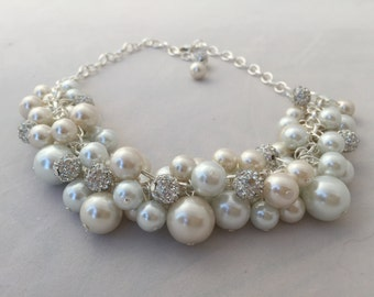 Ivory and white chunky Pearl necklace with crystal balls- bridesmaid jewely - statement necklace