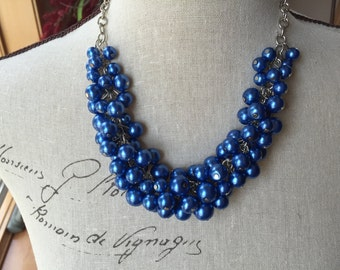 Royal blue chunky Pearl necklace, cluster Pearl necklace, wedding jewelry,bridesmaid jewelry