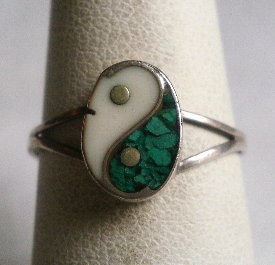 sterling silver yin yang ring by antiquario on etsy