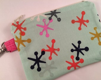 Jacks Small Zippered Pouch, Wallet, Vegan Wallet, Notions Case, Phone Case, Small Bag, iPod Case