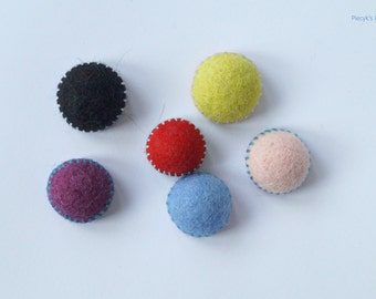 Eco-Friendly Colorful Felt Fridge Magnets - set of 6 Felt Magnets - Pink Purple Black Blue Red Green OOAK - Child Safe