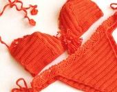 Orange Bikini Set Crochet Bikini Top Women Swimwear Swimsuit Summer Beach Wear Bathingsuit Festival Clothing Gifts For Her  by senoaccessory