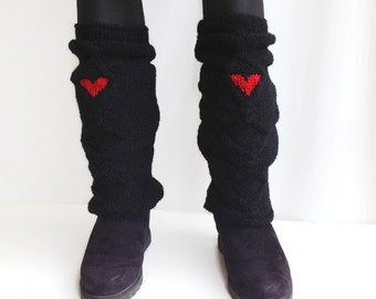 Black Boot Cuffs Red Heart Socks Heart Leggings Leg Warmers Knit Knee Sock Winter Valentines Day Gifts , Gifts For Her, Gifts For Women