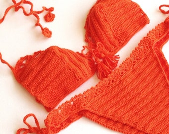 Orange Women Swimwear Crochet Bikini Top Bikini Bottom Swimsuit Bathingsuit Summer Beachwear // senoaccessory