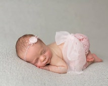 Photography Pants Set. Newborn Pants Set. Newborn Pants and Headband. Rose Chiffon Headband. Newborn Photography Prop.UK SELLER