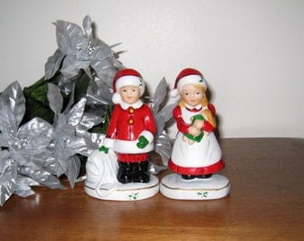 """ENESCO Vintage Boy & Girl Bisque Christmas Figurines In Santa Outfits / 4 7/8"""" Tall / Mint Condition"""