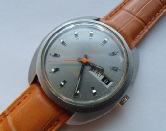 Mens Watch Automatic Caravelle Bulova 1970 Orange Grey