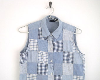 Sleeveless Denim Shirt. Vintage 90s Gap. Gingham Plaid Patchwork Top. Chambray Blouse with Pointed Collar & Button Down.