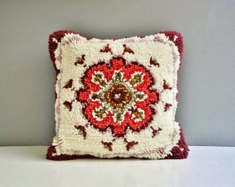 Vintage Latch Hook Pillow - Geometric Throw Pillow