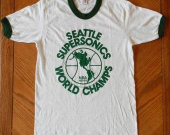 vintage Seattle Supersonics T Shirt 78-79 World Champions ringer tee 70s NBA basketball memorabilia NOS sonics Hanes champs collectible rare