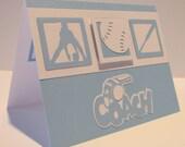 SOFTBALL Thank You COACH Card - Blue and White - Hand Stamped - Coach - Thank You - Softball