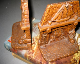 Resin Mid Century Bookends Fireplace Sailboat Scene