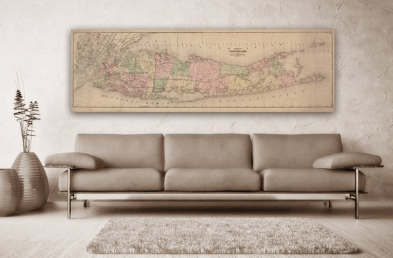 Print of Vintage Long Island Map on Photo Paper Matte Paper or Canvas Art Decor Giclee Antique Nautical Chart Blueprint Line Drawing Poster